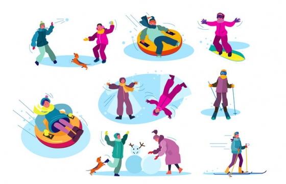 8款扁平插画风格打雪仗滑雪溜冰堆雪人等冬天娱乐项目图片免抠矢量素材