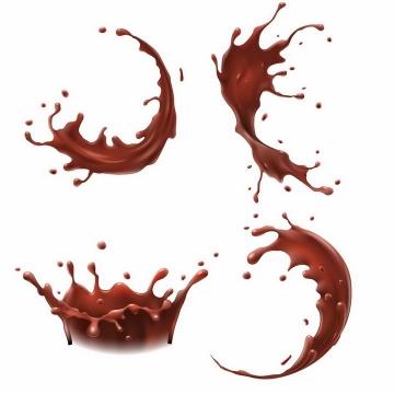 4种巧克力牛奶液体飞溅液滴效果png图片免抠eps矢量素材
