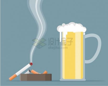 啤酒杯旁的香烟和烟灰缸扁平插画png图片免抠矢量素材