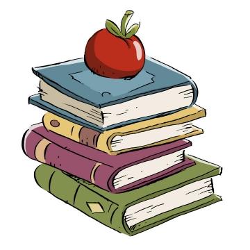 手绘卡通插画风格堆放在一起的书本和上面的苹果图片免抠矢量图