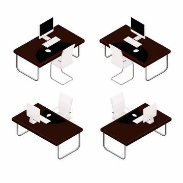 不同角度的黑色办公桌和白色的椅子办公室家具用品png图片免抠矢量素材