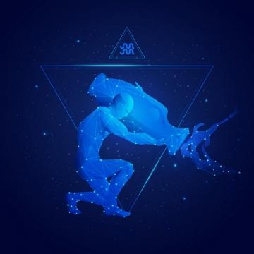 蓝色发光点线组成十二星座之水瓶座png图片免抠矢量素材