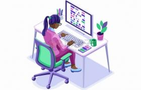 2.5D风格女设计师坐在电脑面前做设计扁平插画png图片素材