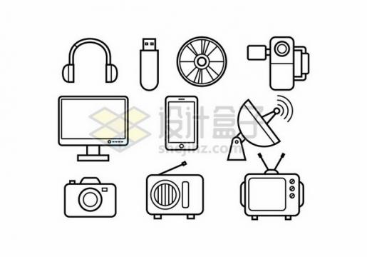 耳机U盘显示器手机照相机电视机等线条图标788830png图片素材