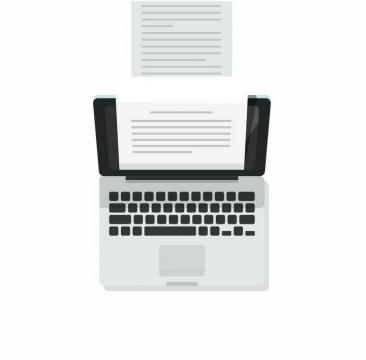 扁平化风格笔记本电脑和打印纸png图片免抠矢量素材