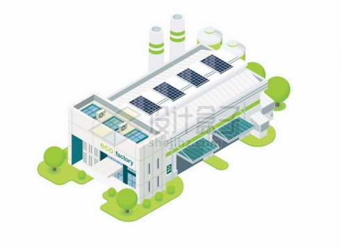 2.5D风格绿色工厂厂房850158png图片素材