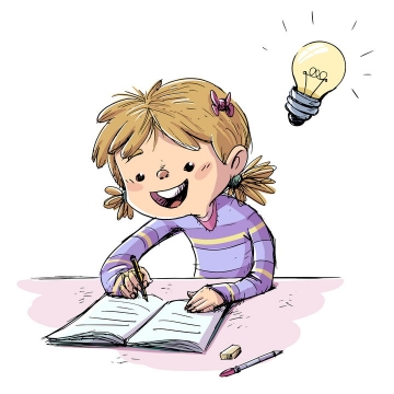 手绘卡通插画风格正在做作业的孩子图片免抠矢量图
