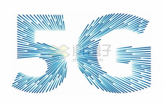 抽象蓝色光点组成的5G标志符号png图片素材
