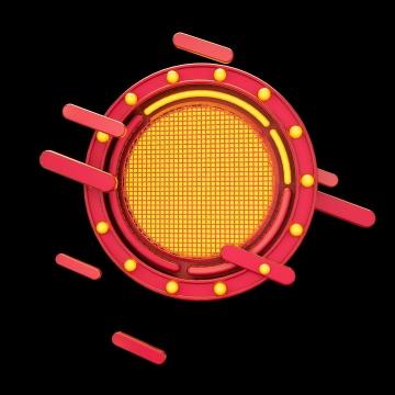 C4D风格圆形红色标题背景框电商图片免抠素材