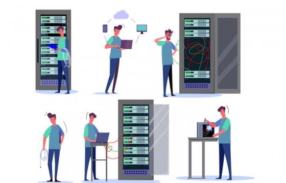6款扁平插画风格正在调试网络服务器的技术男图片免抠矢量素材