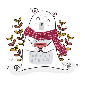 卡通插画风格抱着热茶围着围巾的大白熊免抠矢量图片素材