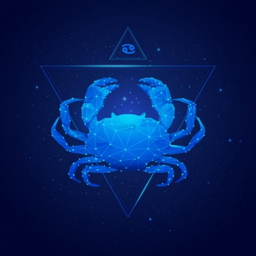 蓝色发光点线组成十二星座之巨蟹座png图片免抠矢量素材