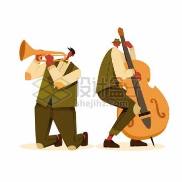 吹小号弹奏大提琴的爵士音乐演奏家扁平插画png图片素材