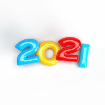 糖果色水晶风格2021年立体艺术字体327770免抠图片素材
