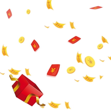 打开礼盒中飞出的红包雨金币装饰图片免扣素材