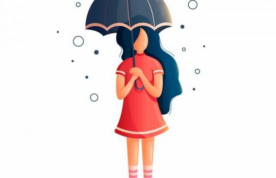 扁平插画风格打着雨伞的红裙子女孩png图片免抠矢量素材