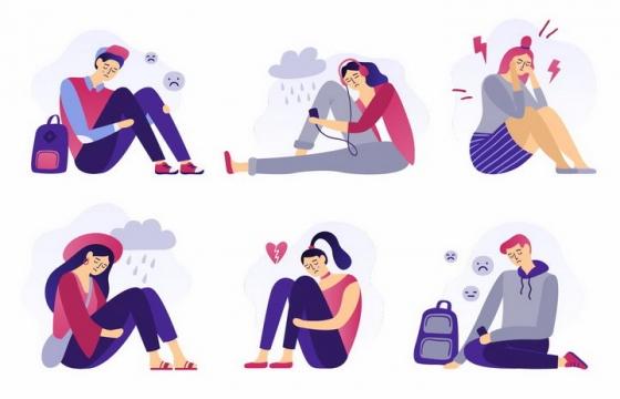6款扁平插画风格沮丧坐在地上的年轻人感受到压力png图片免抠eps矢量素材