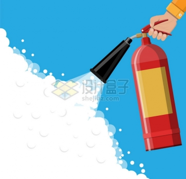 一只手拿着干粉灭火器喷洒消防器材png图片素材