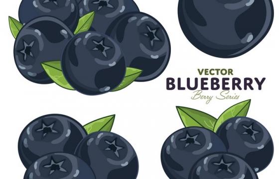 4款手绘风格蓝莓浆果美味水果图片免抠矢量素材