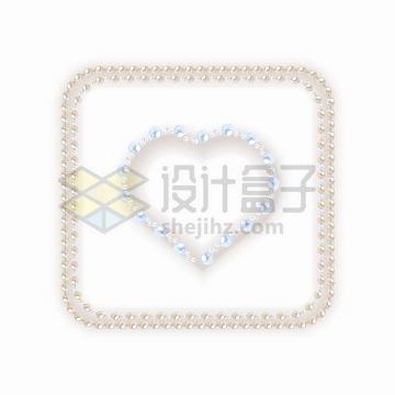 珍珠项链摆成正方形和心形图案png图片免抠矢量素材
