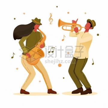 吹小号和萨克斯的爵士音乐演奏家扁平插画png图片素材