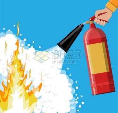 一只手拿着干粉灭火器喷洒扑灭火灾消防器材png图片素材