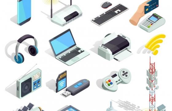 各种2.5D风格的数码IT产品手机路由器键盘鼠标耳机打印机收音机等免抠矢量图片素材