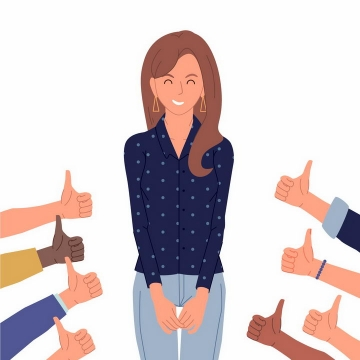 扁平插画风格大家竖起大拇指称赞的商务女士png图片免抠矢量素材