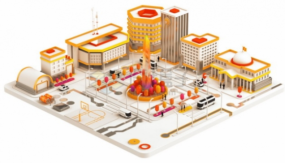 3D风格橙色的城市和城市公园广场png图片素材