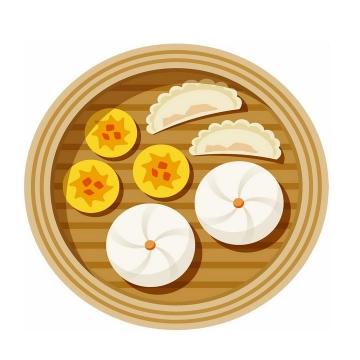 扁平化风格蒸笼中的包子和饺子早餐png图片免抠素材