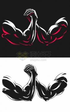 黑白漫画风格扳手腕150010png图片素材