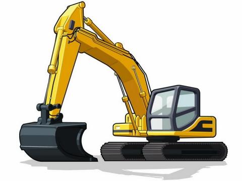 黄色的挖掘机挖土机工程机械png图片免抠矢量素材