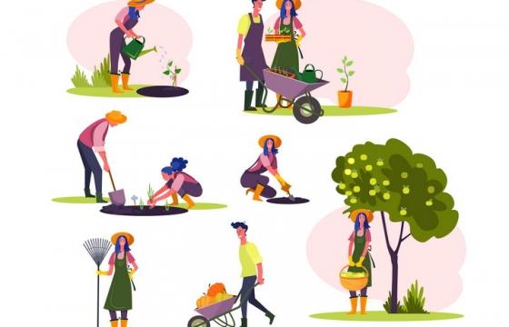 7款扁平插画风格在农场工作的农民农夫图片免抠矢量素材