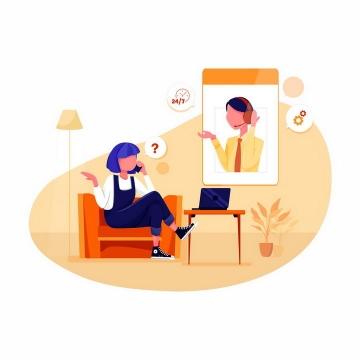 扁平化风格正在打电话和招聘客服进行沟通的求职者png图片免抠矢量素材