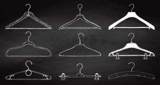 白色手绘素描风格各种晾衣架png图片免抠矢量素材
