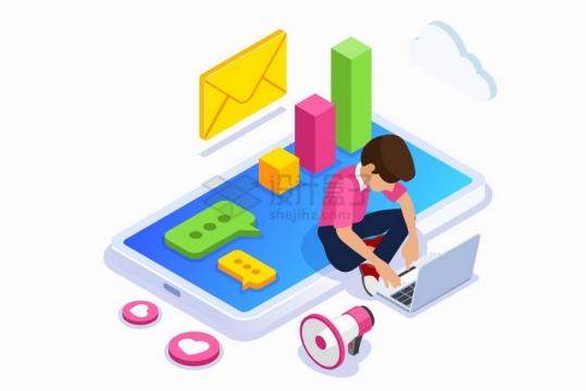 坐在手机上使用笔记本电脑的年轻人和电子邮件数据统计等png图片免抠矢量素材