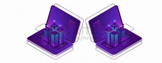 两台紫色笔记本电脑上的发光摩天大楼png图片免抠矢量素材