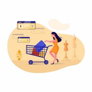 扁平化风格推着购物车在超市采购的美女png图片免抠矢量素材