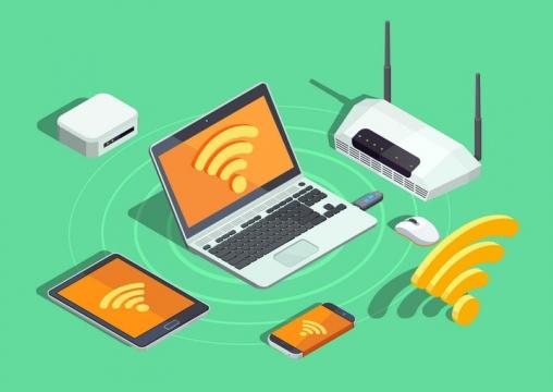 2.5D风格路由器通过WiFi连接笔记本电脑平板电脑智能手机等IT设备免抠矢量图片素材