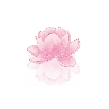 水彩画风格盛开的粉色莲花png图片免抠素材