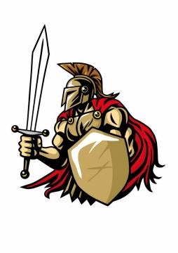 卡通漫画风格手持利剑和盾牌的古罗马战士角斗士png图片免抠矢量素材