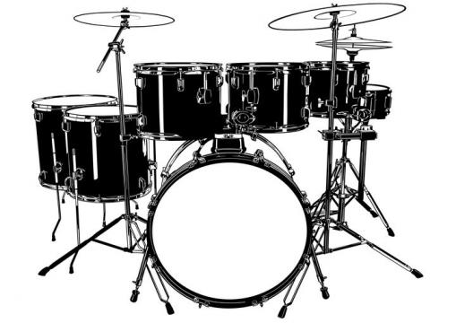 黑白色风格的架子鼓音乐乐器图片免抠矢量图素材
