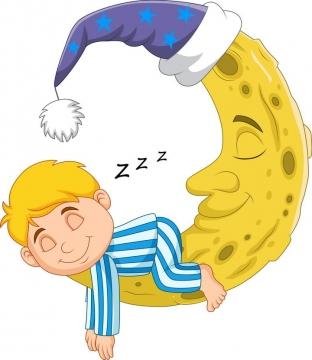 手绘可爱小孩趴在月亮上睡觉简笔画图片免抠素材