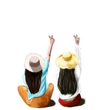 彩色水彩画风格坐在地上的青春少女举起一只手图片免抠素材