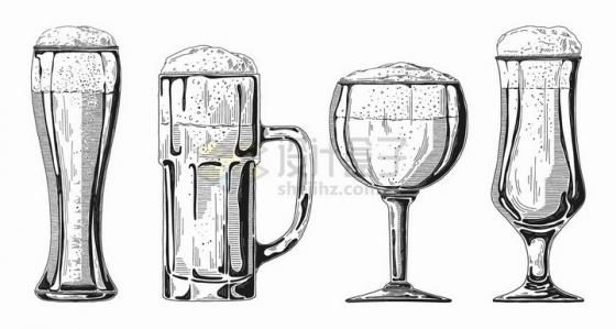 手绘素描风格不同造型的啤酒杯png图片免抠矢量素材