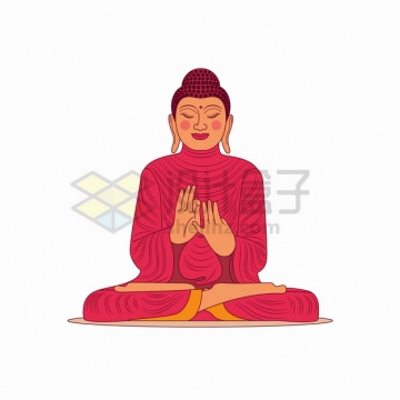 身穿红色衣服的卡通佛祖佛像png图片素材
