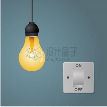 发光的黄色电灯泡和控制开关png图片免抠矢量素材