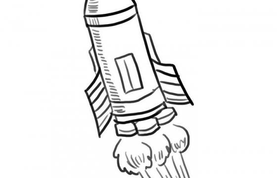 手绘线条素描风格火箭简笔画图片免抠素材
