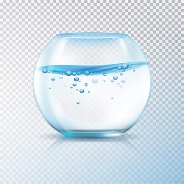 淡蓝色的球形透明玻璃鱼缸图片免抠素材
