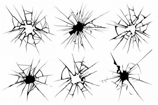 6款黑色线条破碎的窗户破裂的玻璃表面纹理图案png图片免抠eps矢量素材
